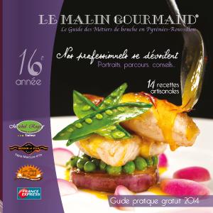 Couverture de l'édition 2014 du guide papier Le Malin Gourmand