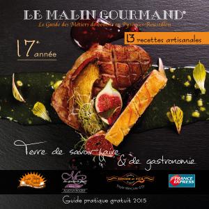 Couverture de l'édition 2015 du guide papier Le Malin Gourmand