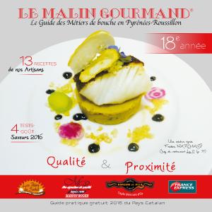Couverture de l'édition 2016 du guide papier Le Malin Gourmand