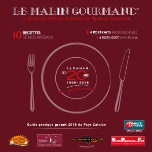 Couverture de l'édition 2018 du guide papier Le Malin Gourmand