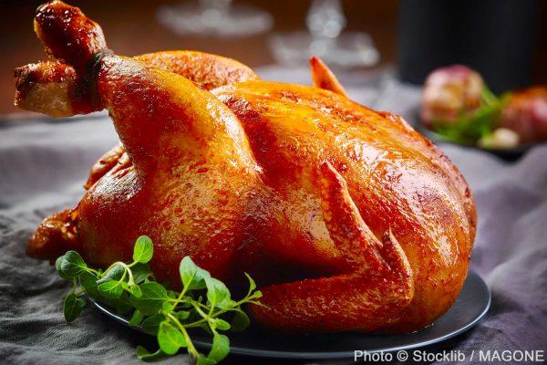 un magnifique poulet rôti dans son assiette publié dans le Malin Gourmand
